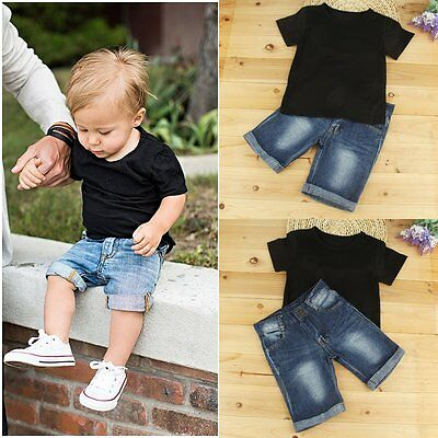 2PCS Toddler Kids Baby Boys T-shirt Tops+Denim Shorts Pants Outfits Clothes Set