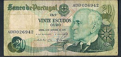 PORTUGAL BANKNOTE 20 P176b 1978 VF - 1/6 SIGNATURE TYPES THIS PICK