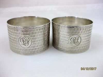 Solid Silver  Pair of LARGE NAPKIN RINGS  Hallmarked  BIRMINGHAM 1943