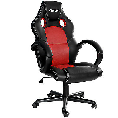 Merax Racing Style Office Gaming Chair High Back PU Leather Mesh Ergonomic Red