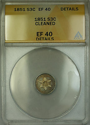 1851 3c Silver Three Cent Coin ANACS EF-40 Details Cleaned RL