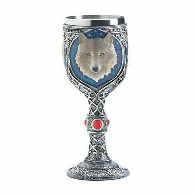 Timber Wolf Goblet Features a Celtic Design Stainless Steel & Blue Accent New