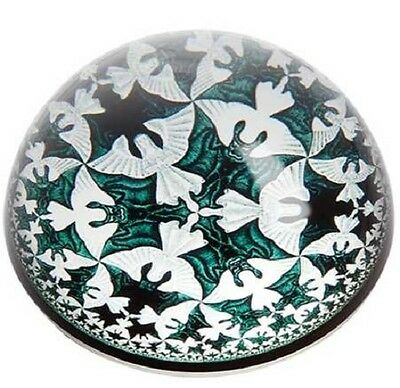 New ESCHER CIRCLE LIMIT IV glass Dome Angels & Demons bat Paperweight Parastone