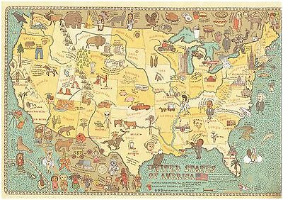 Pictograph Cartograph Map of United States Detailed facts about region