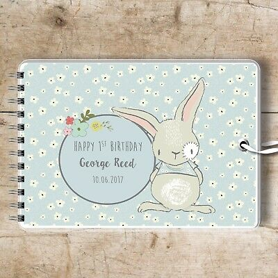 Personalised Guest Book Blue Bunny, Naming Day Birthday Baptism Baby Shower Gift