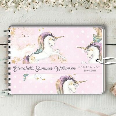 Personalised Guest Book Unicorn Naming Day Birthday Baptism Baby Shower, 2 Sizes