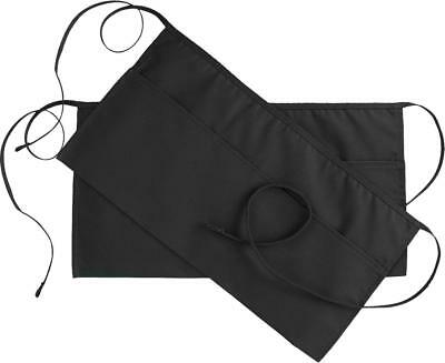 "Waist Apron 3 Pockets Black 24x12"" Set of 2 Restaurant Waitress Utopia Kitchen"