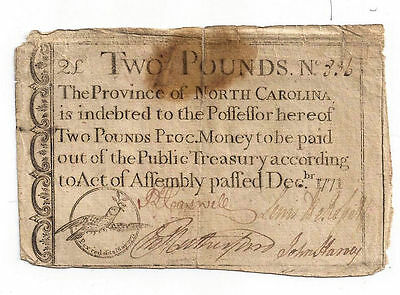 1771 North Carolina Colonial Currency - Two Pounds Note No.836