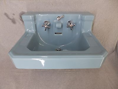 Vtg Medium Blue Porcelain Ceramic Bathroom Sink Old Standard Plumbing 651-16