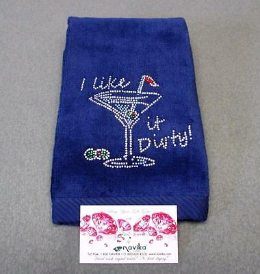New Ladies I Like it Dirty blue golf towel by Navika USA