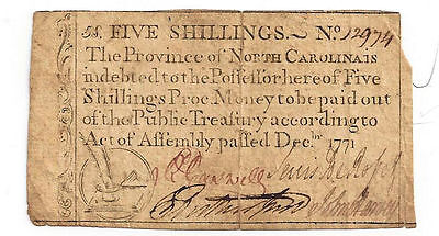 1771 North Carolina Colonial Currency - Five Shillings Note No.12974