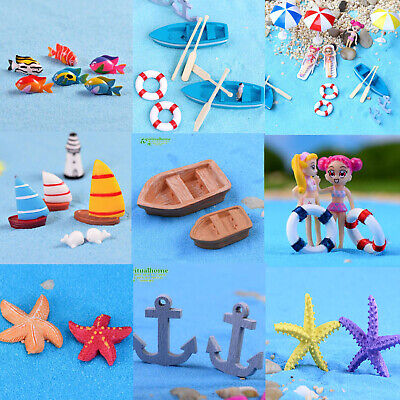DIY Garden Ornaments Miniature Resin Statues Beach Sailing Boat Starfish Fishs