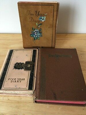 Vintage Handwritten Diaries 5 Year 1945 - 1964 Lot of 3 Work Young Woman Maine