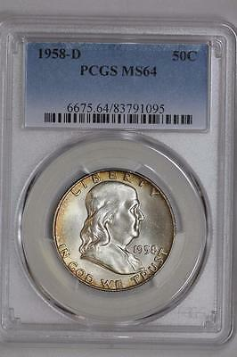 1958 D Silver Franklin Half Dollar MS64 PCGS United States Mint 50c Coin