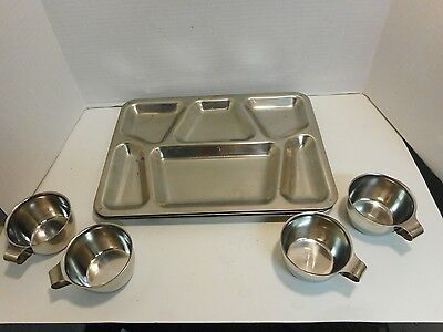 vintage camping 4 US CARROLLTON MFG 1951  STAINLESS MESS HALL TRAYS and cups