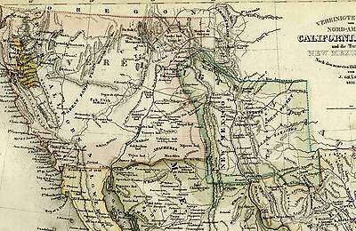 Western U.S. California Texas gold regions nice c.1850 old antique Meyer map
