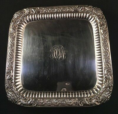 Rare Tiffany Chrysanthemum Sterling Silver Square Footed Tray / Trivet