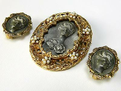 Vintage Antiqued Gold & Pewter Faux Pearl Cameo Pin Brooch Clip Earrings Set
