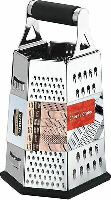 """Cheese Grater Vegetable Slicer Stainless Steel 6 Sides 9.5"""" By Utopia Kitchen"""