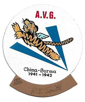 WW2 Flying Tiger Ace Pilot Robert T Smith Leather Patch & Autograph