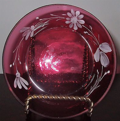 Antique Cranberry Glass Hand Painted White Flowers * Small Pin Tray/plate