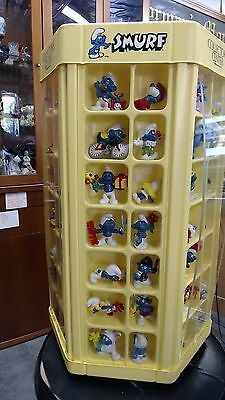 "Collectible Smurf carousel with 84 vintage Peyo figures display case 22"" tall"