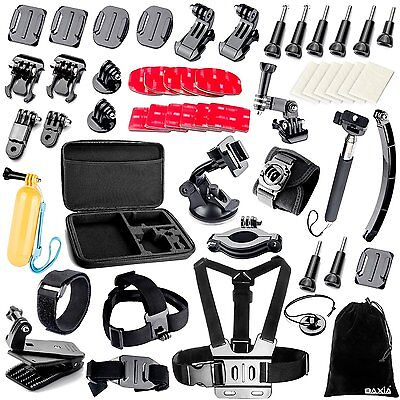 BAXIA Accessories Kit for GoPro HERO 5 4 3 2 1 Session Cameras - Black & Silver