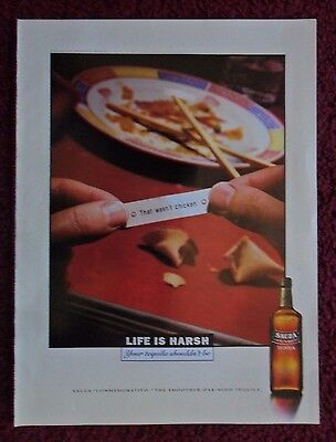 1997 Print Ad SAUZA Tequila ~ Chinese Restaurant Fortune Cookie 'Wasn't Chicken'