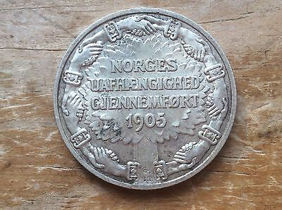 1906 Norway silver 2 Krone @@ must see higher grade@@@