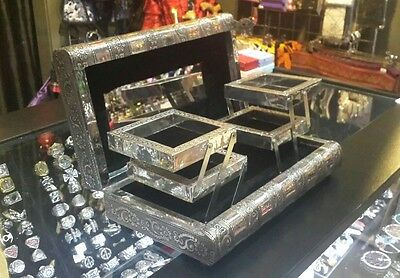 Large hand crafted Vintage metal Jewellery Box four raised Compartments Mirror,