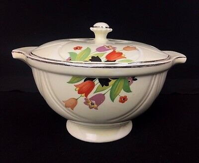 Vintage Hall's China Crocus Pattern Covered Embossed Tureen Lid Serving Piece