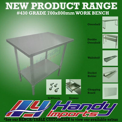 800mm x 700mm NEW STAINLESS STEEL WORK BENCH KITCHEN FOOD PREP CATERING TABLE