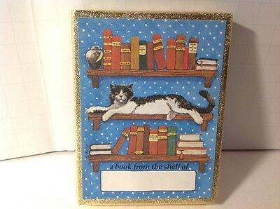 Antioch Bookplate Cat on Bookshelf Book Box of 46 Plates