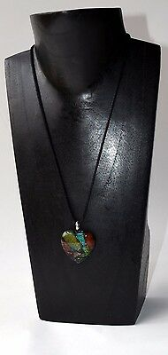 Glass Heart Pendant Necklace soft black thread~Handcrafted ~ New