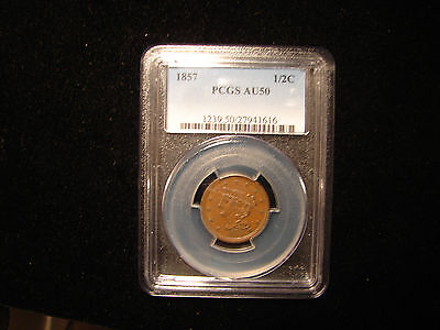 1857 1/2 Cent Graded by PCGS as AU50, as Pictured.