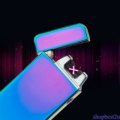Electric Dual Arc Rechargeable Windproof Plasma Lighter Flameless USB Gift Color