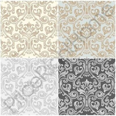 Fine Decor Wentworth Damask Wallpaper Black Grey Cream / Silver Gold Glitter