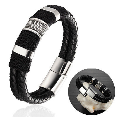 Mens Magnetic Buckle Bracelet Bangle Cuff Black Leather Braided Stainless Steel