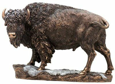 """10.5"""" Inch Brown Buffalo in Snow Wild Life Animal Statue American Native Bison"""