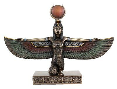 10 Inch Egyptian Winged Isis Kneeling Figurine Statue Ancient Goddess Justice