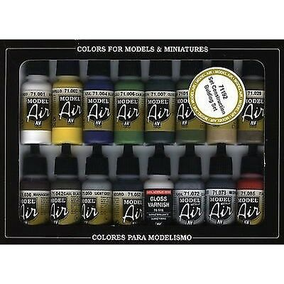Vallejo Model Air Building Set 16 Colour Set Acrylic Paint Set Brand New 71192
