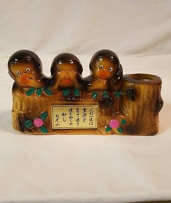 Vintage See Hear Speak No Evil Monkey Ceramic Figurine Free Shipping