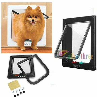 3 Sizes High Quality 4-Way Locking lockable Pet Cat Small Dog Flap Door S /M /L