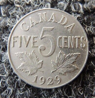 CANADA   1929    George V     5 Cent     VF / XF       Nice Coin