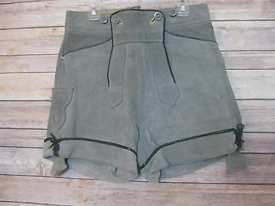 "Vintage German Lederhosen Leather Shorts Mens 30"" Waist"