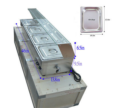 4-Pan Buffet Bain-Marie Food Warmer Steam Table 1500W110V Double Stainless Steel