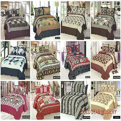100% Cotton Quilted Embroidered 3 Piece Comforter Bed Throw Double King ##SALE##