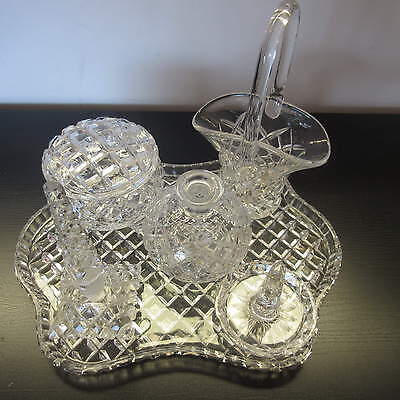 """BOHEMIA LEAD CUT CRYSTAL VINTAGE DRESSER SET-TRAY & 5 PIECES, Bn1"