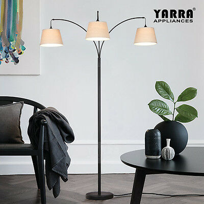 NEW 3LT Acro Curve Morden Floor Lamp Stand Fabric Shade Metal Base Black