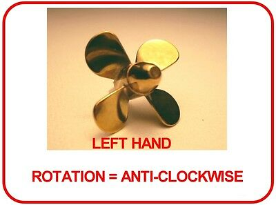 BRASS MODEL BOAT PROPELLER 25mm 4 BLADE LEFT HAND M2 ( CLOCKWISE ROTATION )